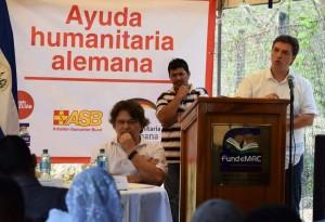 Marcus Wörle (director de cooperación de la Embajada de Alemania en El Salvador) habló de la impontancia de la resiliencia a la sequía.